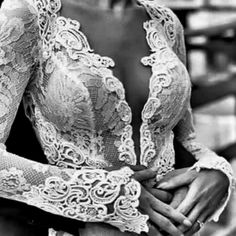 Beautiful White Lace Detailed V-Neck Low Plunge Bridal Themed Top
