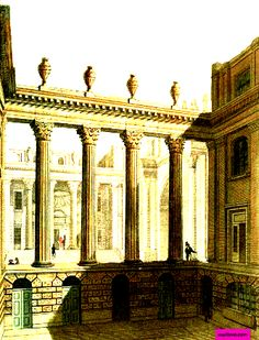 1811  Bullion Yard, Interior Of Bank of England, London, UK.  Plate via Rudolph Ackermann Volume 6.    suzilove.com