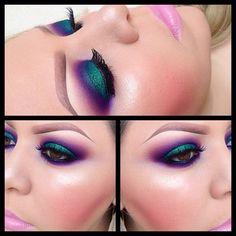 Love the intense jewel-toned peacock colors. That bubblegum lipstick has GOT to go.