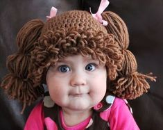 """""""Have you ever dreamed of having a life sized Cabbage Patch Kid? Now you can with this Cabbage Patch Kids Hat that will turn your child into the big cheeked, adorable Cabbage Patch Kid we all remember!"""" Cutest Halloween idea ever! Crochet Crafts, Crochet Projects, Knit Crochet, Free Crochet, Crochet Pony, Crochet Crown, Chrochet, Art Projects, Cabbage Patch Kids"""
