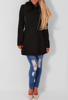 Pink Boutique Ruth black faux fur collar coat- £70 http://www.pinkboutique.co.uk/ruth-black-faux-fur-collar-coat.html #pinkboutique
