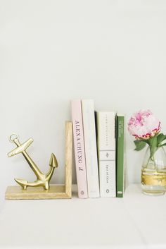 gold anchor bookend