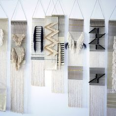 Woven wall hangings by Justine Ashbee