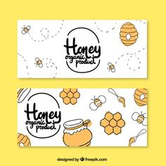 Hand drawn honey banners  Free Vector