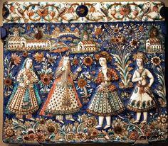 Iran - Femmes & Eglises arméniennes d'Ispahan (± 1880)  Victoria & Albert Celtic Dragon, Celtic Art, Teheran, Persian Culture, Iranian Art, Handmade Tiles, Tile Art, Mosaic Tiles, Victoria And Albert Museum
