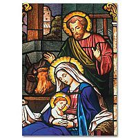 Holy Family Stained Glass - Christmas Card