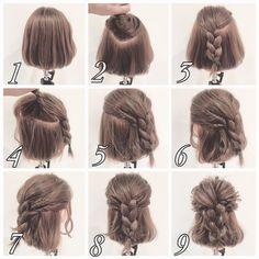 Messy Half up Braid Coiffure for Quick Hair Medium Hair Styles, Curly Hair Styles, Natural Hair Styles, Short Hair Styles Easy, Braids For Short Hair, Short Hair Cuts, Braid Hair, Short Hair Braids Tutorial, Short Hair Tutorials