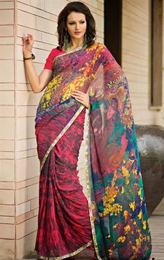 Picture of Unique Gray, Pink and Yellow Color Saree