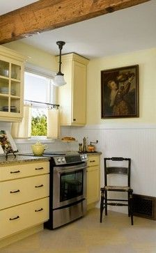 Maybe a rustic beam (matching the floors) to mark the ceiling transition from living to kitchen? (traditional kitchen by Donna DuFresne Interior Design) Home Kitchens, Yellow Kitchen Decor, Kitchen Design, Kitchen Inspirations, Kitchen Renovation, Kitchen Flooring, Kitchen Layout, Kitchen Redo, Yellow Kitchen Designs