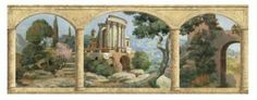 Tuscan Stone Wallpaper   ... and Mountains - Stone Arches Tuscan Mural - Classic Wallcoverings