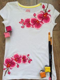 """Купить Детская футболка """"Орхидеи"""" - белый, роспись по ткани, роспись одежды, роспись футболок"""