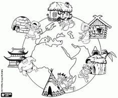 Coloriage Voyage Autour Du Monde Multicultural Activities, Map Activities, Preschool Activities, Art Classroom Decor, Classroom Projects, Around The World Theme, Kids Around The World, School Board Decoration, Picture Comprehension