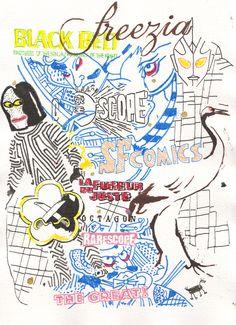 En las ilustraciones de Judas Arrieta, densos entramados sígnicos se despliegan como telarañas que nos atrapan mediante la fusión de imaginería asiática y occidental, de drippings y dibujos de cómic, graffiti y viñeta, affiches e ideogramas japeneses. El artista se contagia del humor bizarro japonés y lo hace dialogar con su propio acervo cultural, invocando el inconsciente colectivo, derribando los diques que las convenciones levantan entre la adolescencia y la edad adulta, entre la ...