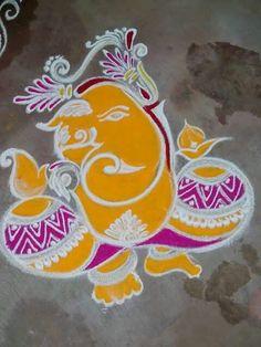 Rangoli Ideas, Rangoli Designs Diwali, Diwali Rangoli, Ganesh Rangoli, Indian Rangoli, Diwali Painting, Ganesh Design, Ganesh Chaturthi Images, Rangoli Colours