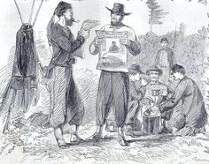 "June 12, 1863: James mentions that he tried unsuccessfully to exchange newspapers with the enemy pickets, a common practice during the war. ""Pickets Fraternizing over Coffee and Exchanging Papers,"" Harper's Weekly, July 26, 1862. Missouri History Museum. http://www.historyhappenshere.org/archives/7407"