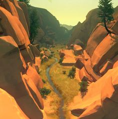 Firewatch is one of the most scenic games I've seen! Desert Environment, Game Environment, Environment Concept Art, Low Poly, Game Design, Game Art, Decoration, Scene, Landscape