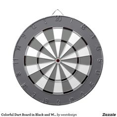 Colourful Dart Board in Black and White