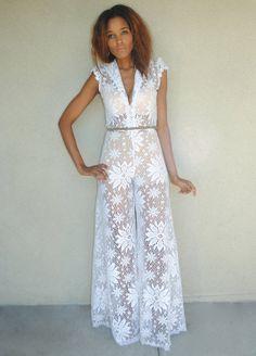 d2178fb0695f vintage white lace palazzo jumpsuit. wide leg jumpsuit. Small   Medium. 70s  bohemian boho hippie. Bohemian Wedding