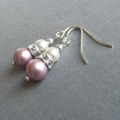 Blush Pink Earrings - Dusky Pink Bridesmaid Jewelry - Ivory and Soft Pink Pearl Drop Earrings - Tea Rose Pink Bridesmaid Gifts - Wedding