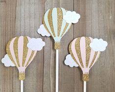 Hot air balloon toppers, hot air balloon cupcake toppers, cupcake toppers, baby shower cupcake toppers, hot air balloon party supplies