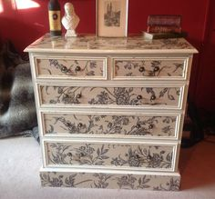 Unique One Off Stunning Unusual Shabby Chic Decoupage Chest Of Drawers | eBay