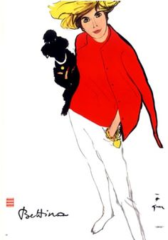 Illustration by René Gruau, 6/1963, Bettina Fashion, L'Officiel.
