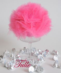 tulle Centerpiece.....I used goblets from my Dollar Tree store.  The styrofoam balls are really pricey, $5. for 2.  Hobby Lobby had the tulle half price.  Made these with white tulle and added a hot pink bow under the stem.  Really pretty! Tulle Centerpiece, Baby Shower Centerpieces, Party Centerpieces, Princess Birthday, Princess Party, Baby Girl Baptism, Elegant Baby Shower, Ball Decorations, Dollar Tree Store
