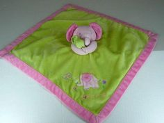 Just One Year Love Me Elephant Pink Green Baby Security Blanket Carters Lovey #Carters