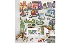 mural infantil ciudad alegre color