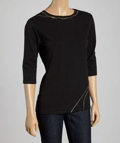 Black Asymmetrical-Zipper Crewneck Top, $25 !!   #zulilyfinds