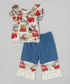 Look what I found on #zulily! Blue Ivory Bon Voyage Top & Lace Capri Pants- Toddler & Girls #zulilyfinds
