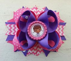 Hey, I found this really awesome Etsy listing at https://www.etsy.com/listing/195984432/doc-mcstuffins-pink-chevron-hair-bow-doc