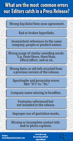 What are the most common errors our Editors catch in a press release?
