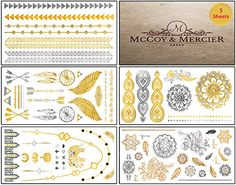 Metallic Tattoos - Fashion inspired flash tats that make everyone stop, look and love the way you look. Includes 5 sheets packed with more than FIFTY gold and silver eye-catching designs. No duds, just the most visually appealing tattoos that are popular and trending right now - tribal, feathers, arrows, elephant, mandala, bracelets, necklaces and much more! Perfect for concerts, parties, beach and anywhere you and your skin might be seen having fun! McCoy & Mercier…