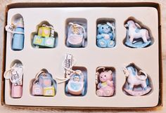 Vintage Baby's First Miniature Christmas Tree Ornament Set of 8 is new old store stock recently acquired during a Midwest Cannon Falls inventory liquidation.        New in box, I estimate these orname