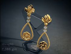 In this video, I have uploaded latest model gold earrings for ladies. Latest Earrings Design, Jewelry Design Earrings, Gold Earrings Designs, Small Earrings, Designer Earrings, Gold Bangles Design, Gold Jewellery Design, Gold Jewelry, Diamond Earrings Indian