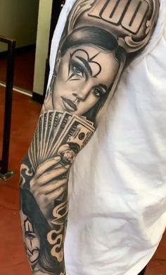 Chicanas Tattoo, Forarm Tattoos, Cool Forearm Tattoos, Dope Tattoos, Badass Tattoos, Money Tattoo, Body Art Tattoos, Chicano Tattoos Gangsters, Chicano Tattoos Sleeve