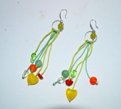 Drop earrings with  Lime Green Jade Gemstone Beads,   Silver Foil Lampwork Glass, and Frosted Cracked Agate