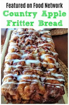 Awesome Country Apple Fritter Bread Recipe - Fluffy, buttery, white cake loaf loaded with chunks of apples and layers of brown sugar and cinnamon swirled inside and on top. Apple Fritter Bread, Apple Bread, Apple Fritter Recipes, Apple Cinnamon Bread, Apple Loaf Cake, Apple Brownies, Apple Recipes Easy, Recipes For Apples, Apple Baking Recipes