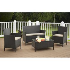 Cosco Home and Office Jamaica Resin Wicker Convo 4 Piece Deep Seating Group with Cushion