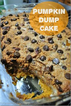 Pumpkin and chocolate are the perfect pair in this pumpkin chocolate chip dump cake.