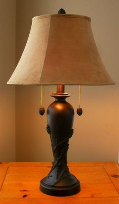 """30"""" Pinecone Branch Table Lamp with Suede Shade"""