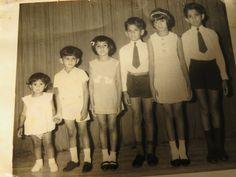 My siblings and me... From right to left: Gérard ( Doudou ) Maryse ( Misette ) Norbert ( Groslatêtesapeau) Christiane ( Kittykat) Lindsay ( Allan ) Arlette ( Tipti )