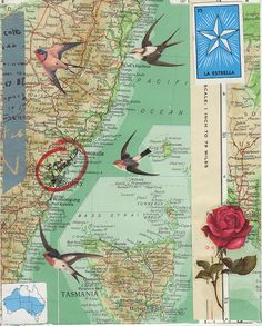 Danielle Maret - Mail Art Envelope 243 back, via Flickr. (inspiration: map of destination)