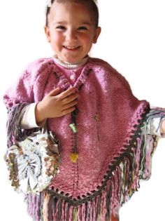 child cloak pink gircilli floral fringed by specialhandmades4you, $44.00