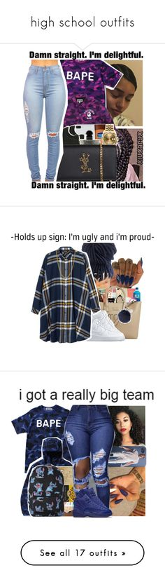 """high school outfits"" by pinksemia ❤ liked on Polyvore featuring A BATHING APE, NIKE, Yves Saint Laurent, Rolex, Monki, Topshop, Linda Lee Johnson, Moschino, Chanel and Puma"