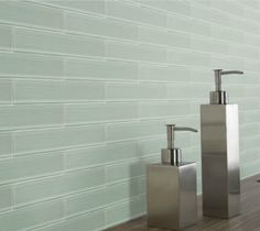 BLV Bamboo 2 x 12 Glass Tile Planks shown in Snow