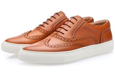 CASTOR NAPPA COGNAC LOW TOP is part of Shoes mens Tan handbrushed calfskin lowtop sneakers with decorative perforation and tonsurton cotton laces Handcrafted in Vigevano, Italy, with calfskin linin - High End Mens Shoes, Best Shoes For Men, Polo Shoes, Men's Shoes, Shoe Boots, Burberry Men, Gucci Men, Shoes Too Big, Plimsolls