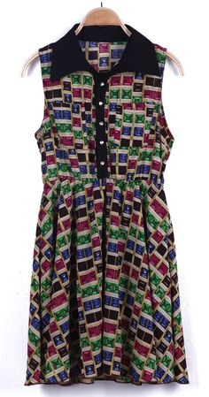 Green Lapel Sleeveless Plaid Chiffon Dress - Sheinside.com #SheInside