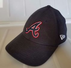 MLB  Atlanta Braves Fitted Cap A navy white red outline New Era 59Fifty sz S M #NewEra #AtlantaBraves